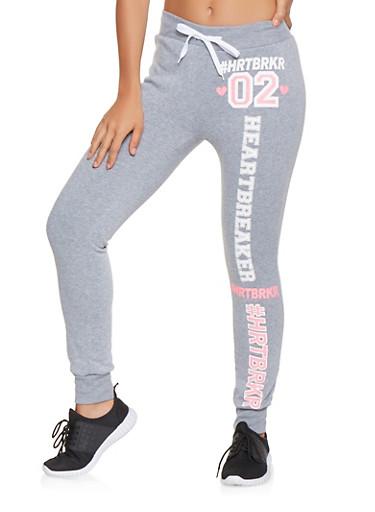 HRTBRKR Graphic Sweatpants,HEATHER,large
