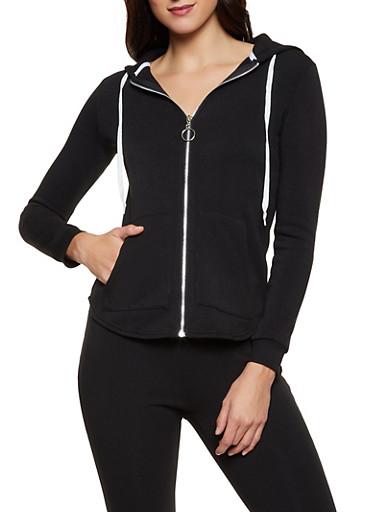 Solid Fleece Lined Sweatshirt,BLACK,large