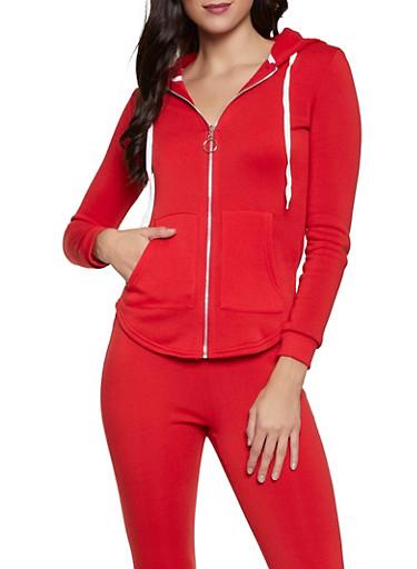 Solid Fleece Lined Sweatshirt,RED,large