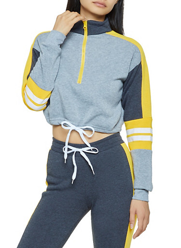 Cropped Varsity Stripe Color Block Sweatshirt,GRAY,large