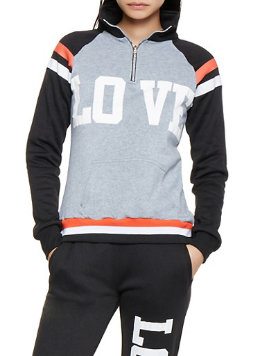 Love Graphic Sweatshirt,BLACK,large