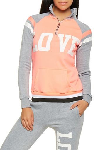 Love Graphic Sweatshirt,PINK,large