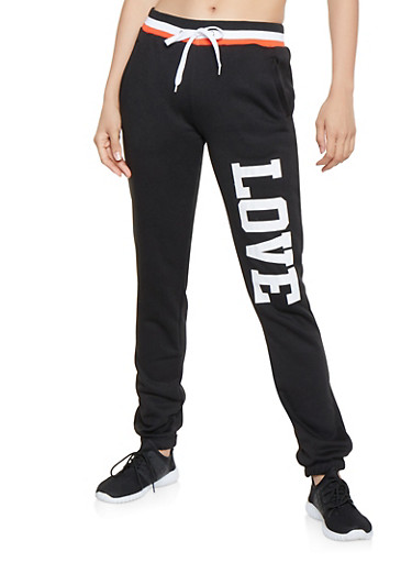 Love Graphic Sweatpants,BLACK,large