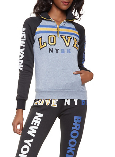 Love Graphic Half Zip Sweatshirt,HEATHER,large