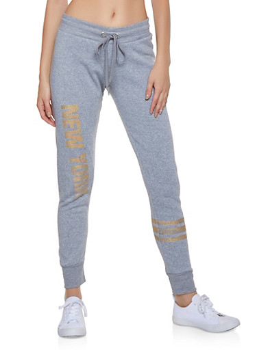 New York Foil Print Joggers,HEATHER,large