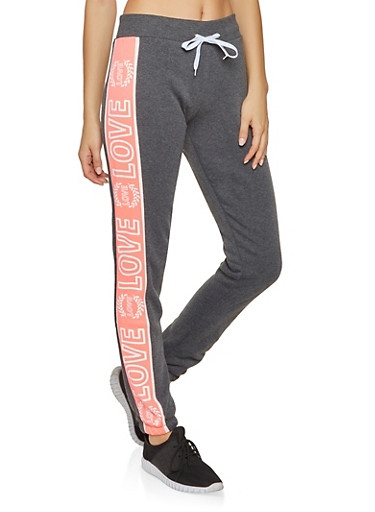 Love Graphic Color Block Sweatpants,CHARCOAL,large