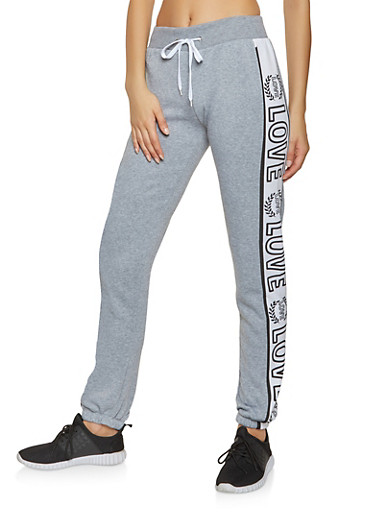 Love Graphic Color Block Sweatpants,HEATHER,large