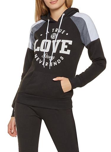 Love Graphic Color Block Sweatshirt,BLACK/WHITE,large