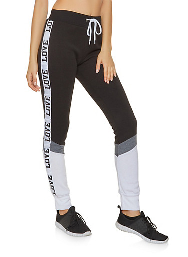 Love Graphic Color Block Sweatpants,BLACK/WHITE,large