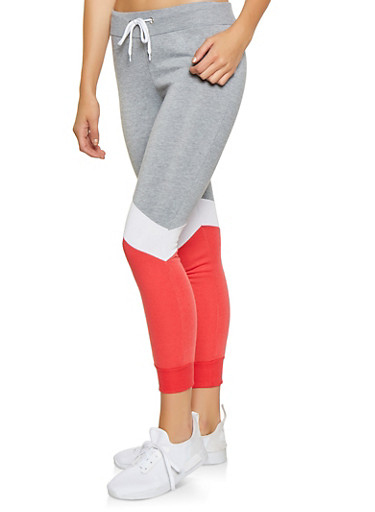 Color Block Joggers,RED,large