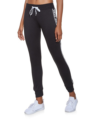 Fleece Lined Graphic Joggers,BLACK,large