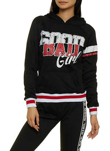 Good Bad Girl Pullover Sweatshirt,BLACK,large