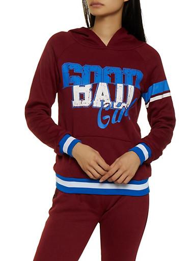 Good Bad Girl Pullover Sweatshirt,WINE,large