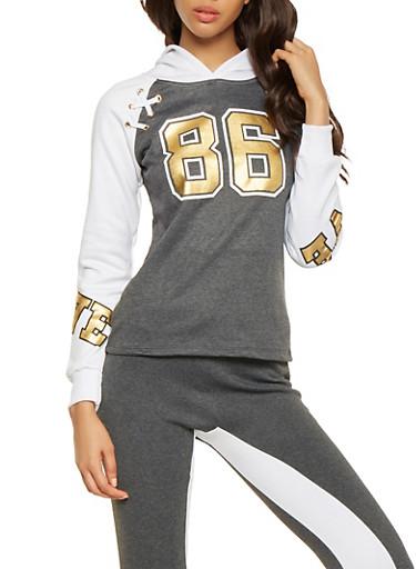Lace Up Foil Graphic Sweatshirt,CHARCOAL,large