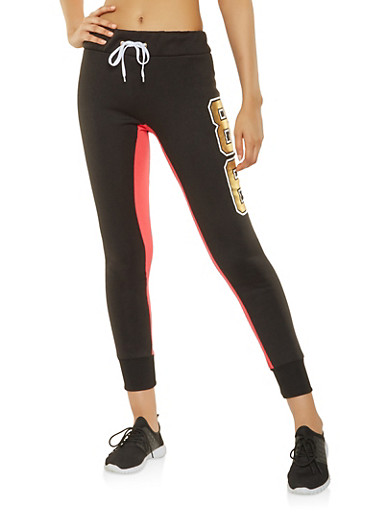 Color Block Foil Graphic Joggers,RED,large