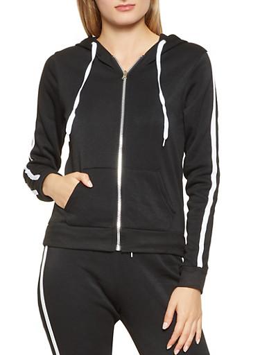 Varsity Stripe Zip Up Hooded Sweatshirt,BLACK,large
