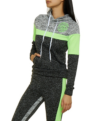Marled Color Block Sweatshirt,LIME,large