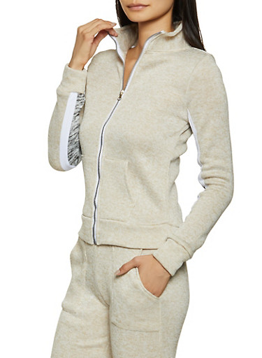 Marled Knit Zip Sweatshirt,OATMEAL,large