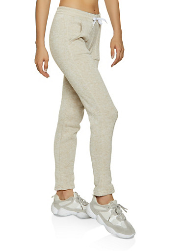 Knit Marled Sweatpants,OATMEAL,large