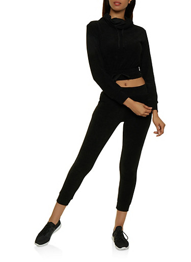 Corduroy Cowl Neck Sweatshirt,BLACK,large