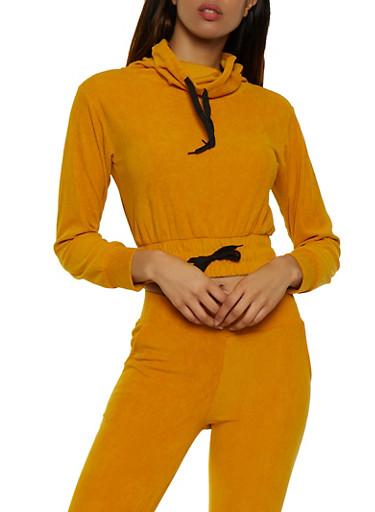 Corduroy Cowl Neck Sweatshirt,BROWN,large