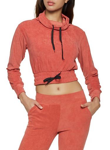 Corduroy Cowl Neck Sweatshirt,RED,large