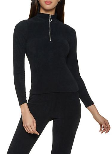 Corduroy Zip Neck Top,BLACK,large