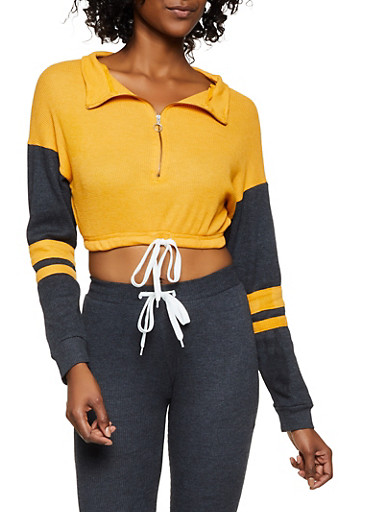 Thermal Zip Neck Crop Top,GOLD,large