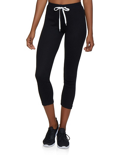 Thermal Drawstring Waist Cropped Pants,BLACK,large