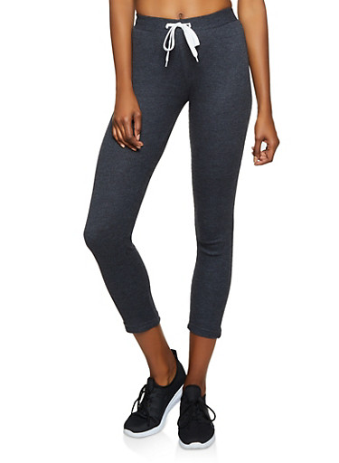 Thermal Drawstring Waist Cropped Pants,CHARCOAL,large