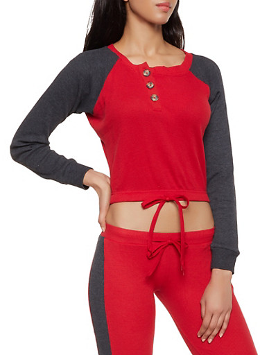 Color Block Drawstring Hem Thermal Top,RED,large
