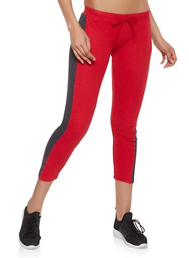 Side Stripe Thermal Pants,RED,large