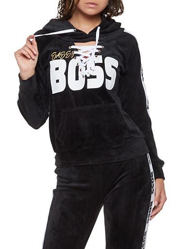Graphic Lace Up Velour Sweatshirt,BLACK,large