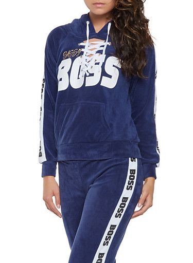 Graphic Lace Up Velour Sweatshirt,NAVY,large