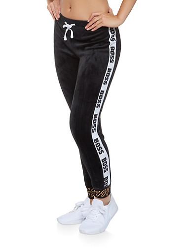 Graphic Velour Joggers,BLACK,large