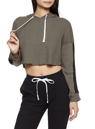 Thermal Hooded Crop Top,OLIVE,large