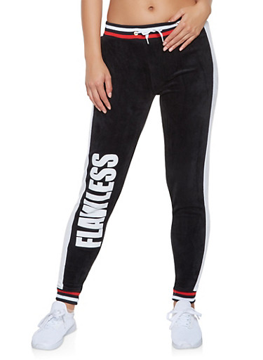 Flawless Graphic Velour Joggers,BLACK,large