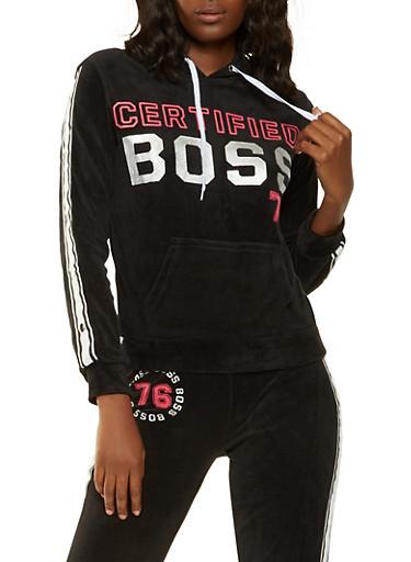 Boss Graphic Velour Sweatshirt,BLACK,large