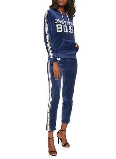 Boss Graphic Velour Sweatshirt,NAVY,large