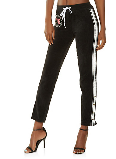 Boss Graphic Velour Flyaway Sweatpants,BLACK,large