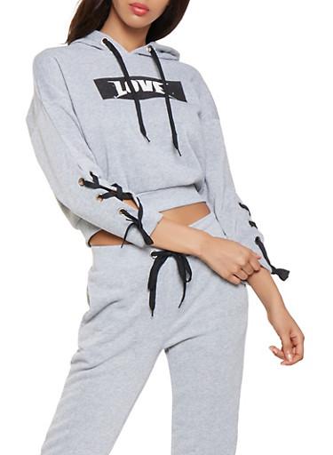 Lace Up Sleeve Love Graphic Sweatshirt,HEATHER,large