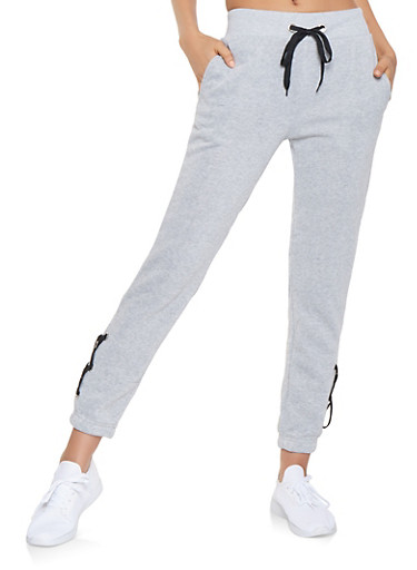 Lace Up Side Sweatpants,HEATHER,large