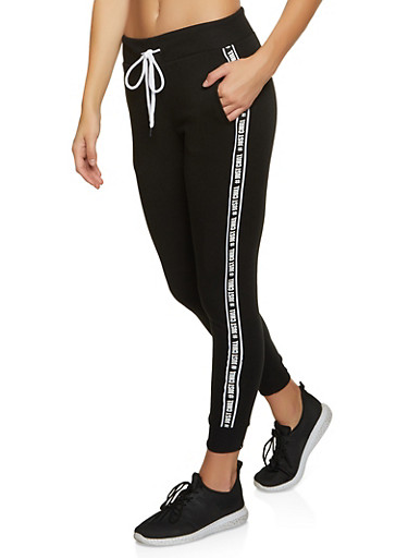 Just Chill Tape Fleece Joggers,BLACK,large