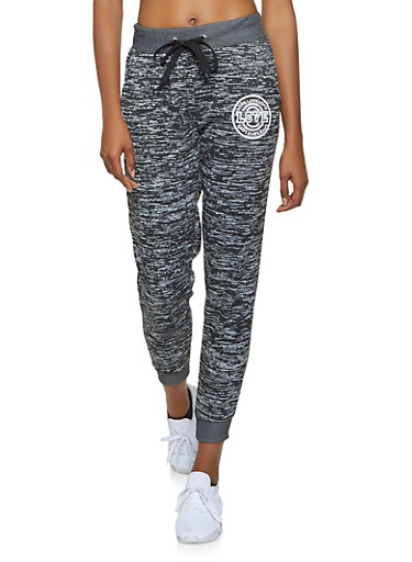 Love Graphic Marled Sweatpants,BLACK,large