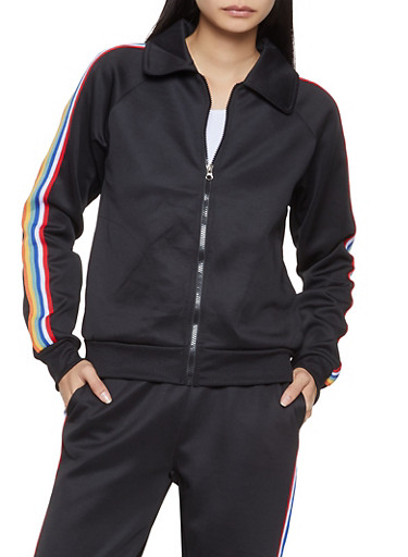 Striped Tape Track Jacket,BLACK,large