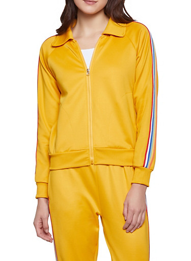 Striped Tape Track Jacket,MUSTARD,large