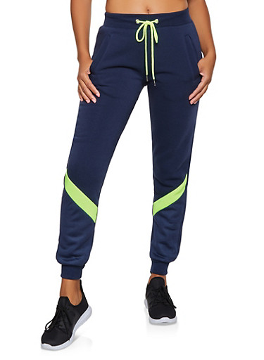 Mesh Detail Joggers,NAVY,large