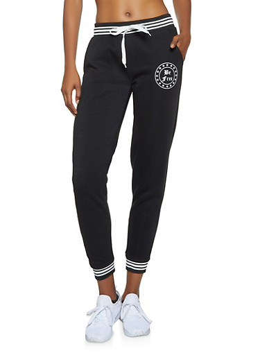 Striped Trim Graphic Sweatpants,BLACK,large