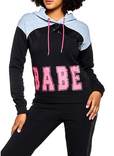 Babe Sequin Detail Sweatshirt,BLACK,large