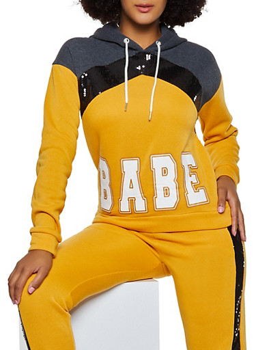 Babe Sequin Detail Sweatshirt,MUSTARD,large